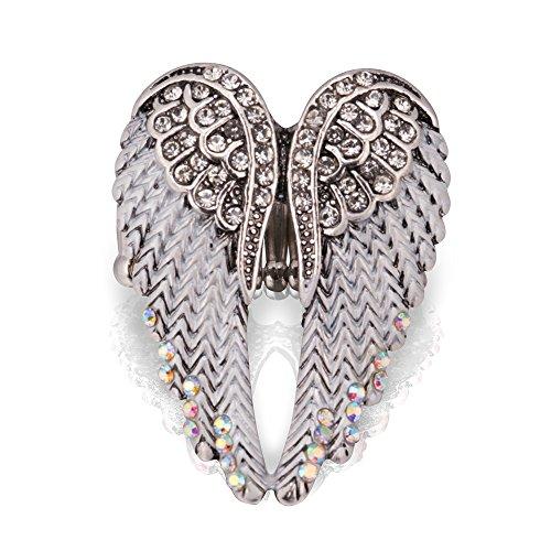 HOMEYU Anillo STARYU® con alas de ángel Anillos austriacos con Piedras Preciosas Anillos de Boda para Mujer