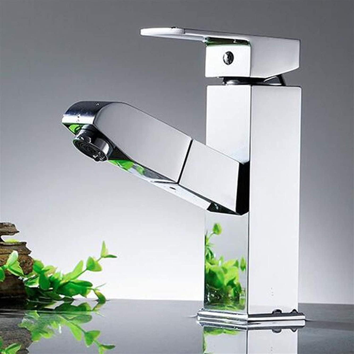 DIAOSI Bathroom basin mixer tap Full Copper Pull Faucet Hot And Cold Single Handle Single Hole Basin Faucet