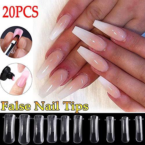 Turbobm Acrylique 20pcs / Set Mixed False Nails Set Clear Color Mold Form Finger Extension UV Tips Clip for Quick Polygel Manicure