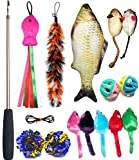 Cat Toys Set, Cat Retractable Teaser Wand, Catnip Fish, Interactive Cat Feather Toy, Mylar Crincle...