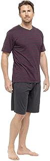 Mens Jersey Striped T-Shirt and Shorts Pyjamas Set