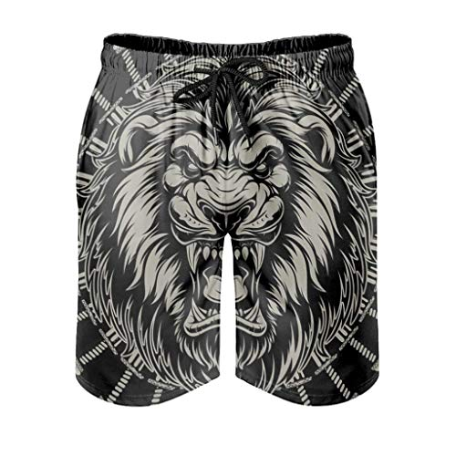 Black King Lion Men's Swimming Trunks Quick Drying Skin-Friendly Louge Shorts with Elastic Drawstring Pockets for Casual Sports Gym,M