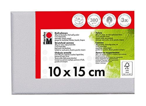 Marabu 1616000000100 - Keilrahmen, ca. 10 x 15 cm, Rahmentiefe ca. 1,8 cm, weiß, mit 380 g/qm Baumwolle bespannt, 3 fach grundiert, leicht saugend, für Acryl-, Öl-, Gouache- und Temperafarben