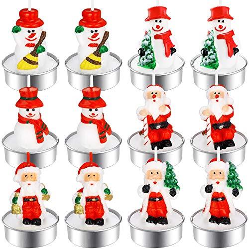 12 Stück Weihnachten Teelicht Kerzen Handgemachte Zart Weihnachtsmann Schneemann Kerzen Weihnachten Dekoration Kerzen für Haus Büro Hochzeit Party