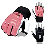 BOOM Prime Leather Body Combat Gel Guantes MMA Neopreno Boxeo Saco de boxeo Artes marciales Muay Thai Grappling Training Sparring UFC Kickboxing Strike Karate Mitts, Rosa, S