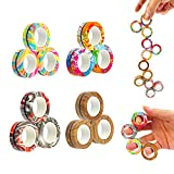 MBOUTrising 12Pcs Magnetic Ring Fidget Toys Pack, Stress Relief Fidget Spinner Toys for Training...