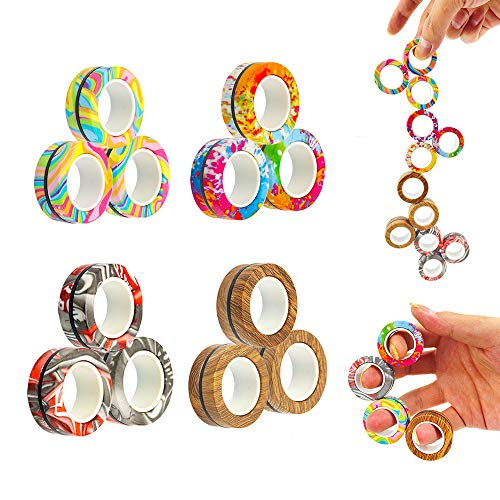 MBOUTrising 12Pcs Magnetic Ring Fidget Toys Pack, Stress Relief Fidget Spinner Toys for Training Relieves Reducer Autism Anxiety, Camouflage Fingers Fidget, Magic Balls, Anti-Stress Ring Balls