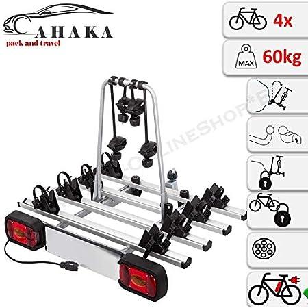 Ahiro4 Anhängerkupplung Fahrradträger Für 4 Fahrräder Abklappbar Abschließbar Aus Stahl Und Aluminium Auto