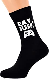 Eat Sleep Playing Computer Game with Controller Image Design Mens Black Cotton Rich Socks