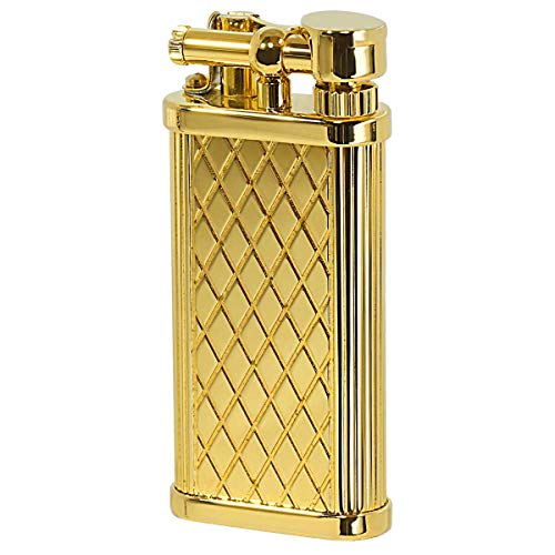 DUNHILL ダンヒル フリントガスライター ユニーク・ポケット UNIQUE POCKET ユニークポケット シガレット用 Gold Plate Crosspatch Pattern ULA13013