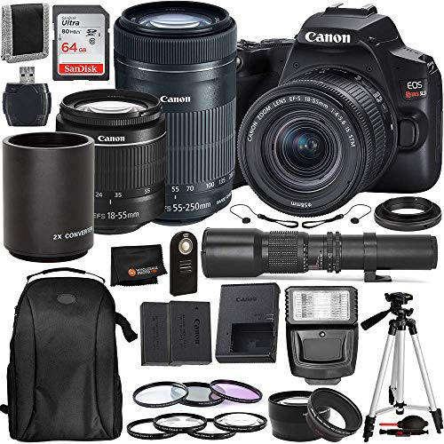 Canon EOS Rebel SL3 DSLR Camera (Black, 3453C002) with 18-55 is STM, 55-250mm is STM, 500mm Preset with T-Mount Adapter & Must Have Bundle: Includes – SanDisk Ultra 64GB SDXC Memory Card + More