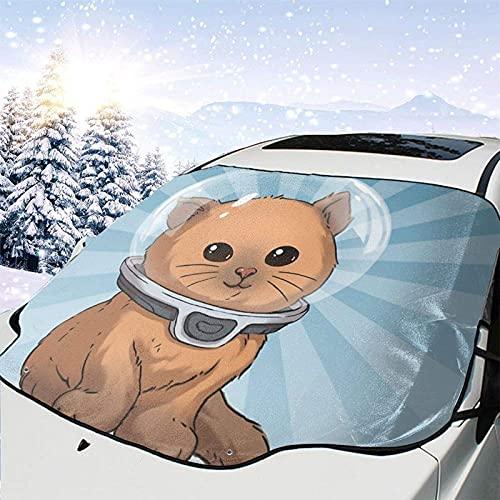 Tcerlcir Parabrisas de Coche, Cubierta de Nieve, eliminación de Hielo, Keep Calm Kitty, Todo Clima, Invierno, Verano, Parasol automático, 147x118cm