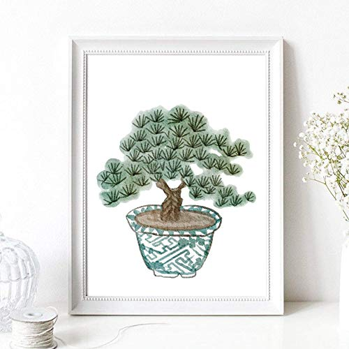 Din A4 Kunstdruck ungerahmt - Bonsai - Baum Kiefer Miniaturbaum Bäumchen - Asia Style - Japan Asien Aquarell Natur Druck Poster Bild