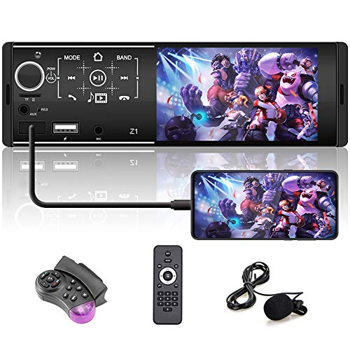 Single Din Car Radio 4.1Inch Touch Screen AM/FM Bluetooth Car Receiver Support Mirror Link for Phone/External Microphone + Backup Camera/Steering Wheel Control
