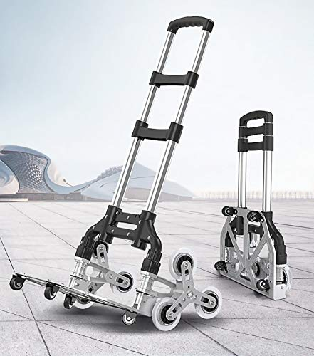 Yinleader Aluminium Treppensteiger klappbar extrem robust | extra langer Griff 106cm | vier Universalrollen 360° | inkl. Einkaufskiste und Verlängerungsseil