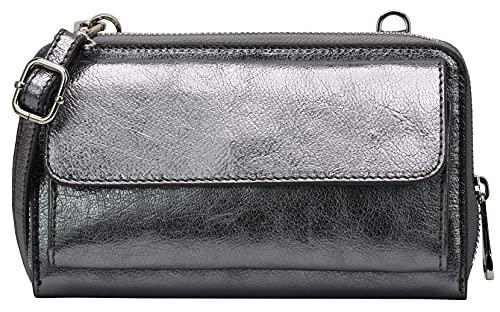 SH Leder G368 - Bolso bandolera para mujer (cuero, ajustable, hasta 6,7 pulgadas, 11,50 x 19 cm), color, talla Small