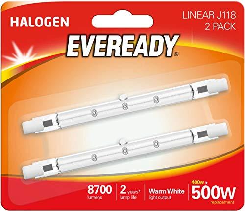 Eveready - Lampadina alogena ECO 400 W (equivalente a 500 W), confezione da 2, R7s, 500 W