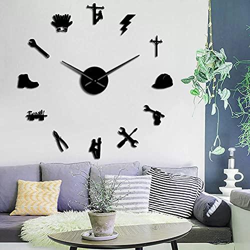 Reloj de Pared Herramientas de Electricista liniero silencioso Reloj de Pared de Bricolaje Espejo acrílico decoración de la Pared Reloj Reloj Regalo-Negro 27 Pulgadas