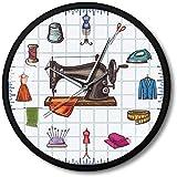 Reloj de Pared Reloj de Pared Tiempo de Acolchado Costurera Artesanía Sala Arte de la Pared Reloj Reloj Accesorios de Costura Máquina de Coser Marco de Metal Reloj de Pared Regalo para Ella Silencios