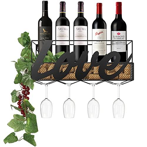 Nuovoware Botellero de Montaje en Pared de Hierro, Práctico Estante para Botellas de Vino, Botellero Apliable para 5...