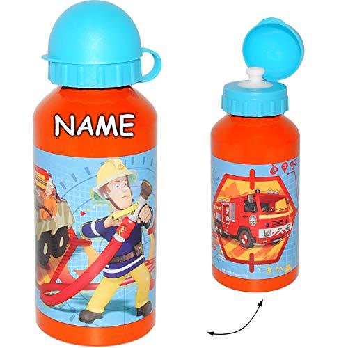 alles-meine.de GmbH Aluflasche / Trinkflasche - Feuerwehrmann Sam - BPA frei - inkl. Name - auslaufsicher - 400 ml - Aluminium - für Kinder - Sportflasche 0,4 Liter / Alutrinkfl..
