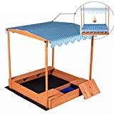 Good Life Wooden Outdoor Up-Down Convertible Canopy Sandbox Covered Storage Bench Seats for Kids Play with 3 Storage Boxes Large Size 55' X 52' Size