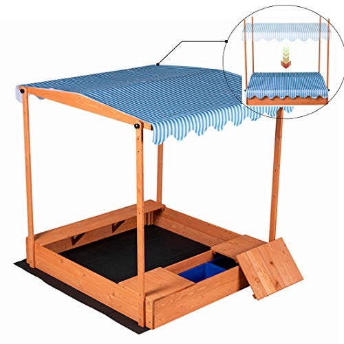 """Good Life Wooden Outdoor Up-Down Convertible Canopy Sandbox Covered Storage Bench Seats for Kids Play with 3 Storage Boxes Large Size 55"""" X 52"""" Size"""