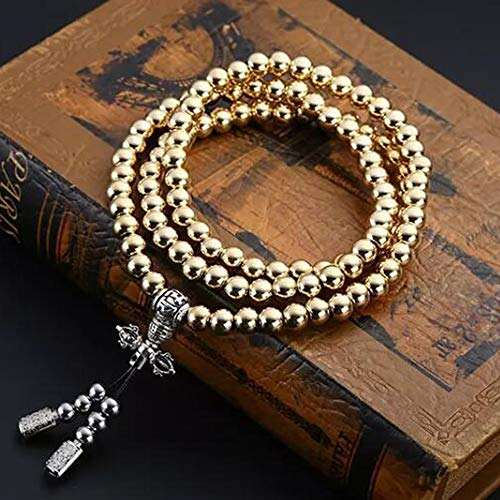 UIGJIOG Collar de Acero Inoxidable/Collar de latón chain108 Perlas de Buda decoración del Coche Colgante autodefensa Pulsera Azote,Copper~b