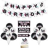 Eternitry Decoración de Fiesta de cumpleaños con Tema TIK Tok, Pancarta de Fiesta de cumpleaños, Sombrero de Copa y Pegatinas para decoración del hogar