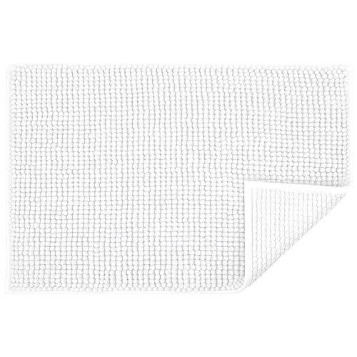 JARITTO Tapis de Bain Antidérapant Absorbant Tapis de Salle de Bain pour Sortie de Douche Baignoire Toilette Cuisine en Microfibre Chenille Lavable en Machine 40 x 60 cm (Blanc)