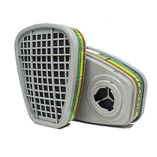 GOMOOY Universal Ersatz-Set ABEK Aktivkohlefilter | Atemschutzmaske Halbmaske zum Schutz der Arbeit Chemie Pulver Lackierung giftige Dämpfe |