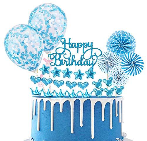 Xinmeng Blau Tortendeko Cake Topper Konfetti Ballon Geburtstag Kuchen Topper Kuchendekoration Geburtstag Torte Topper Kuchen Deko für Junge Geburtstag mit Sternen und Papierfächer