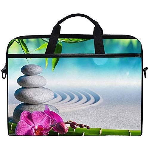 Zen Stone Orchid Bamboo Japanese Laptop Bag Funda Funda Maletín Hombro Impermeable con Correa para Ultrabook Notebook 14 Pulgadas