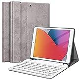 Fintie Tastatur Hülle für iPad 10.2 Zoll (8. & 7. Generation - 2020/2019), Soft TPU Rückseite Gehäuse Schutzhülle mit Pencil Halter, magnetisch Abnehmbarer Tastatur mit QWERTZ Layout, Silber Grau