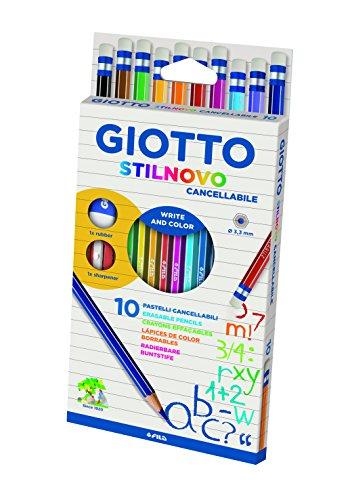 Giotto 256800 - Stilnovo Cancellabile Astuccio 10 Pastelli Colorati con Temperamatite e Gomma