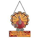 Ogrmar Thanksgiving Metal Turkey Sign Wall Hanging Decoration with Bracket for Front Door Ornament Festive Whimsical Halloween Christmas Wall & Tabletop Decor