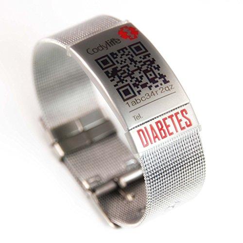 Codylife Pulsera identificativa, Milanese Mesh Diabetes. Pulsera Mujer de Acero Inoxidable 316L con Placa identificativa y Placa Diabetes