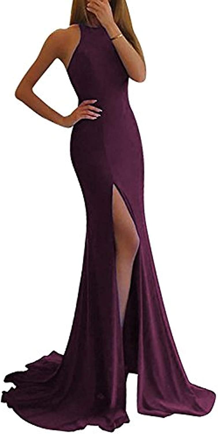 Promworld Women's Off The Shoulder Mermaid Prom Dress Long Side Split Evening Gown