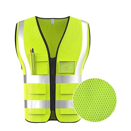 Gilet ad alta visibilità Maglia traspirante Abbigliamento da lavoro multitasche Viaggio di notte Giubbotto di sicurezza riflettente (Color : Fluoresce