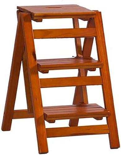 DNSJB 3 étapes Pliante échelle étape Tabouret Solide Bois Fleur étagère Stand échelle Domestique Multifonction intérieure Ascend échelle Petite Tabouret (Couleur   C)