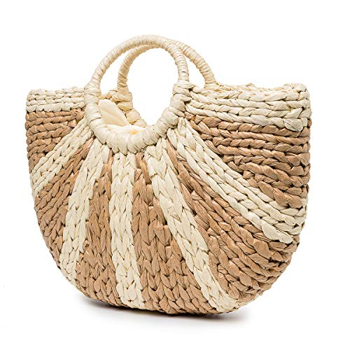 Summer Beach Bag, JOSEKO Womens Straw Handbag Paper Light Summer Shoulder Bag for Beach Travel and Everyday Use Khaki 17.23'x1.18'x13.39'9(LxWxH)