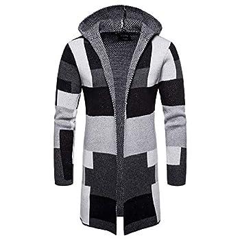 Sumen Men s Hooded Knit Long Cardigan Fashion Color Block Coat Jacket