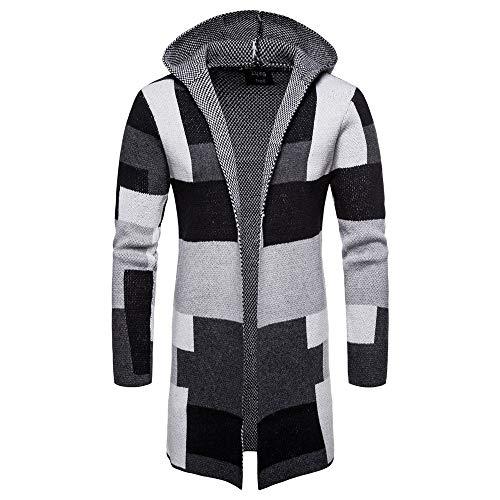 ZIYOU Herren Strickjacke Cardigan Farbpatchwork Lange Mantel Jacket Outwear Langarm Hoodie Oberteile Knit Pullover (XL,Grau)