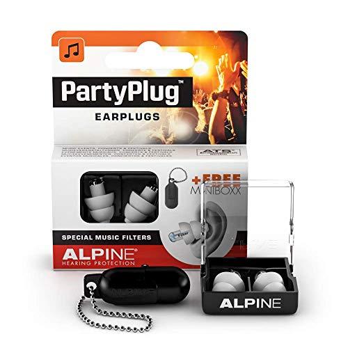 Alpine PartyPlug Gehörschutz Ohrstöpsel für Party, Musik, festivals, Disco und Konzerte sicher genießen - Hohe Musikqualität + Schlüsselanhänger - Hypoallergenes Material - Wiederverwendbar - Weiß