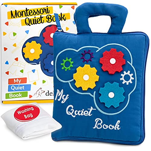 deMoca Quiet Book Montessori Toys for Toddlers – Travel Toy, Preschool Learning – Educational Toy with 9 Sensory Toddler Activities Busy Book for Boys & Girls + Zipper Bag, Blue
