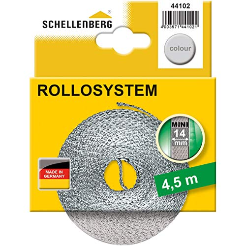 Schellenberg 44102 Cinta de persiana para ventanas y puertas color gris, 14 mm x 4.5 m
