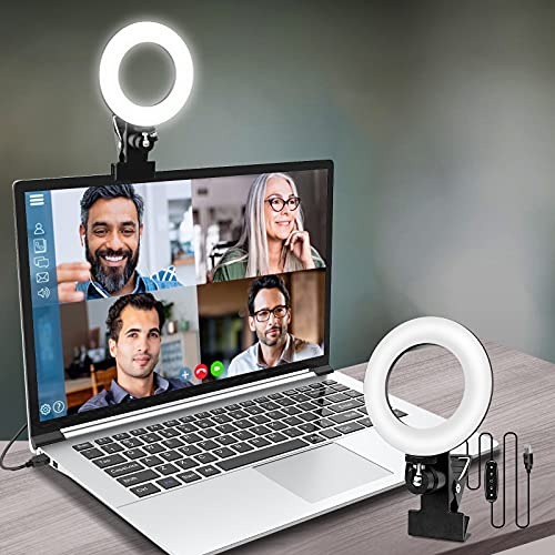 Video Conference Lighting,Webcam Lighting,Ring Light for Monitor Clip On,Zoom Call Lighting, Remote Working, Distance Learning,Self Broadcasting and Live Streaming, Computer Laptop