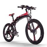 RICH BIT Bicicleta eléctrica TOP-880 Bicicleta de montaña Plegable eléctrica 26 Pulgadas 36V 250W 9.6Ah Ebike TEKTRO Freno de Disco hidráulico Bicicleta eléctrica (Rojo Negro)