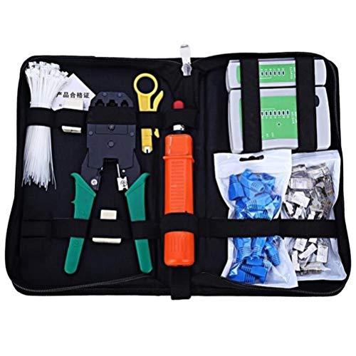 BSTQC Kit de herramientas de crimpado RJ45, 9 en 1, kit de herramientas de reparación de cables de red profesional, juego de herramientas de mantenimiento de conectores Rj45, 2 unidades