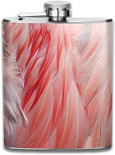 Kundengebundene Flamingo-korallenrote rosa Flügel-Feder-Beschaffenheits-Edelstahl-Wein-Flasche, personalisiertes Flaschen-Geschenk